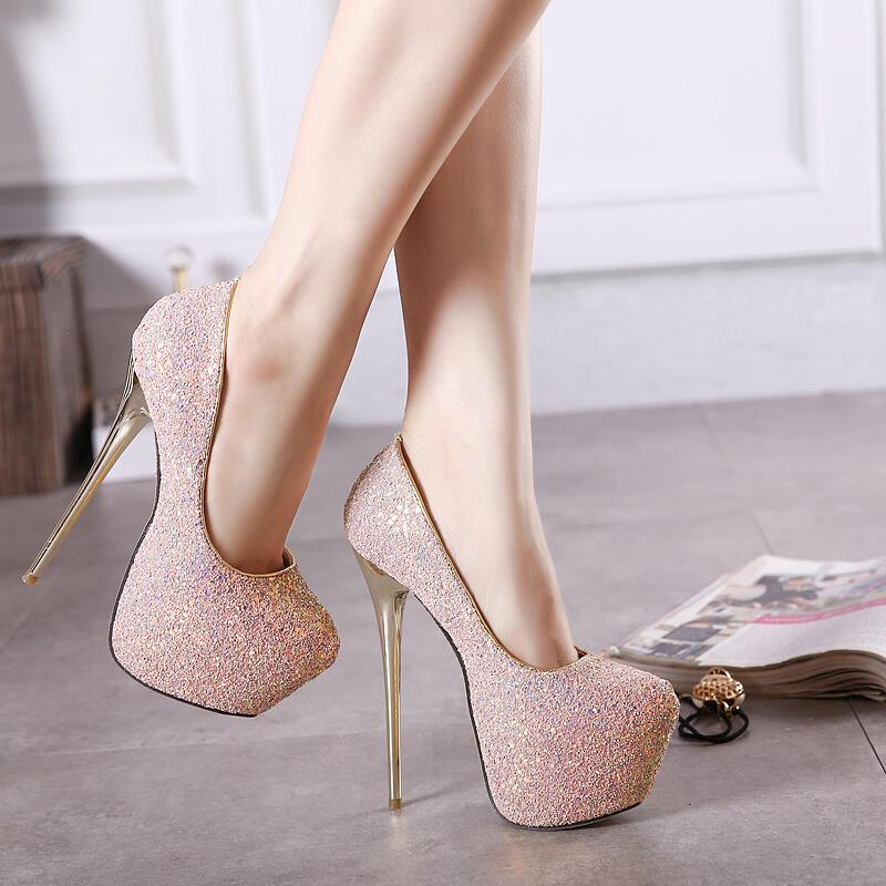 【推薦】外貿名媛亮片性感防水臺高跟鞋甜美婚宴大碼圓頭女鞋Women Heels