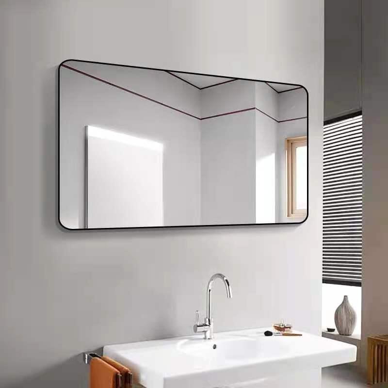 浴室鏡子 鋁合金化妝鏡浴室鏡貼墻壁掛洗手間免打孔衛浴鏡梳妝臺廁所粘貼鏡