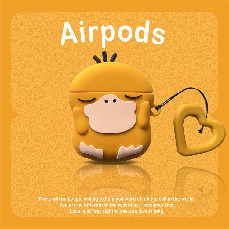 原创.趣味可達鴨無線airpods2耳機pro硅膠可愛3代保護套耳機盒