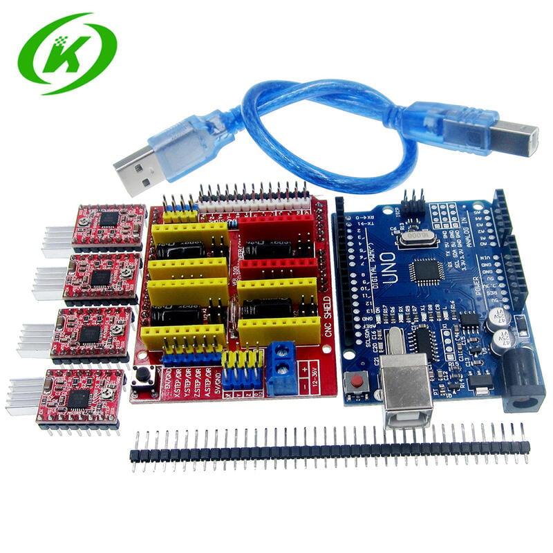 【緣來】3D打印機uno V3控制板cnc shield 4個a4988雕刻機電機驅動套件