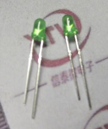 【緣來】發光管LED 3MM 綠色 綠發綠 綠色燈體 長腳 (高亮)一包1000個