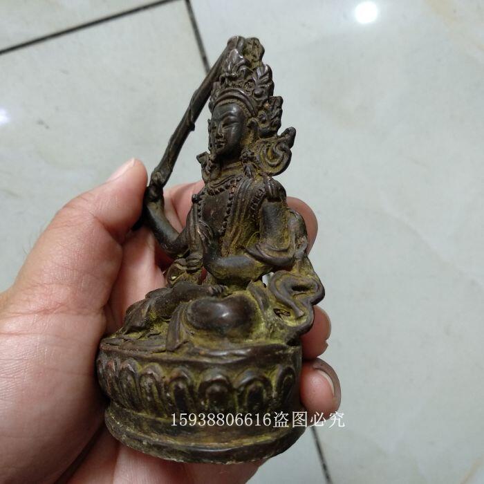 【168倉庫】古玩雜項收藏黃銅文殊菩薩銅像銅佛小擺件供奉佛像老銅器老物