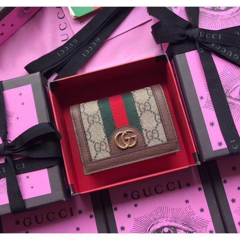 熱賣款 GUCCI 古馳休閒手拿包 雙G紅綠編織帶 PVC防刮錢夾 Vintage短款錢包 短夾 零錢包 皮夾 卡夾