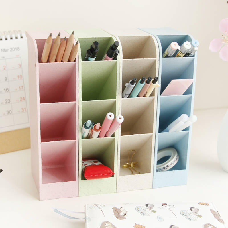 四格多功能簡潔桌面收納盒小清新辦公筆筒創意整理格