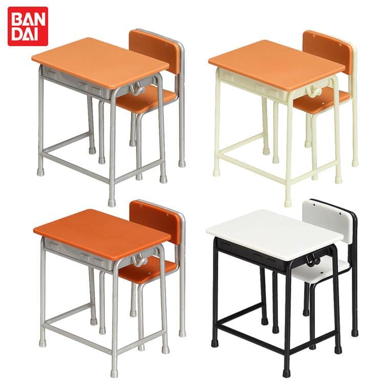 {動漫周邊}}現貨型玩社萬代正版 扭蛋拼裝Q模型系列 1\/12比例學校的教室桌椅 現貨