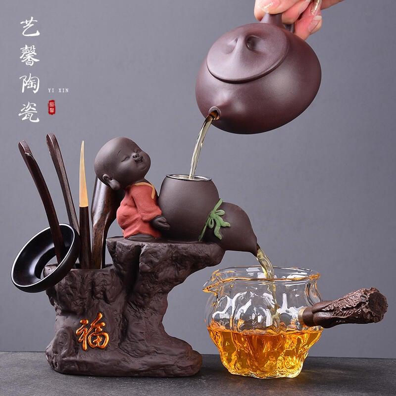 (品宣)創意小和尚紫砂茶漏  泡茶葉過濾器網功夫茶具道配件六君子套裝