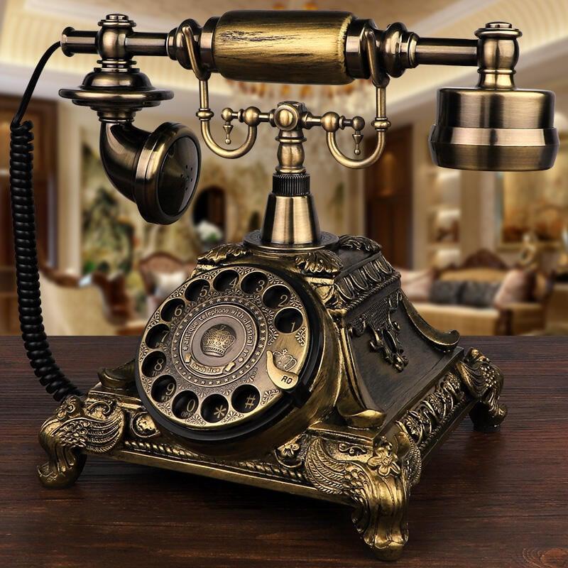 歐式仿古電話機美式復古家用辦公座機田園時尚創意旋轉盤無線插卡[]  露天拍賣