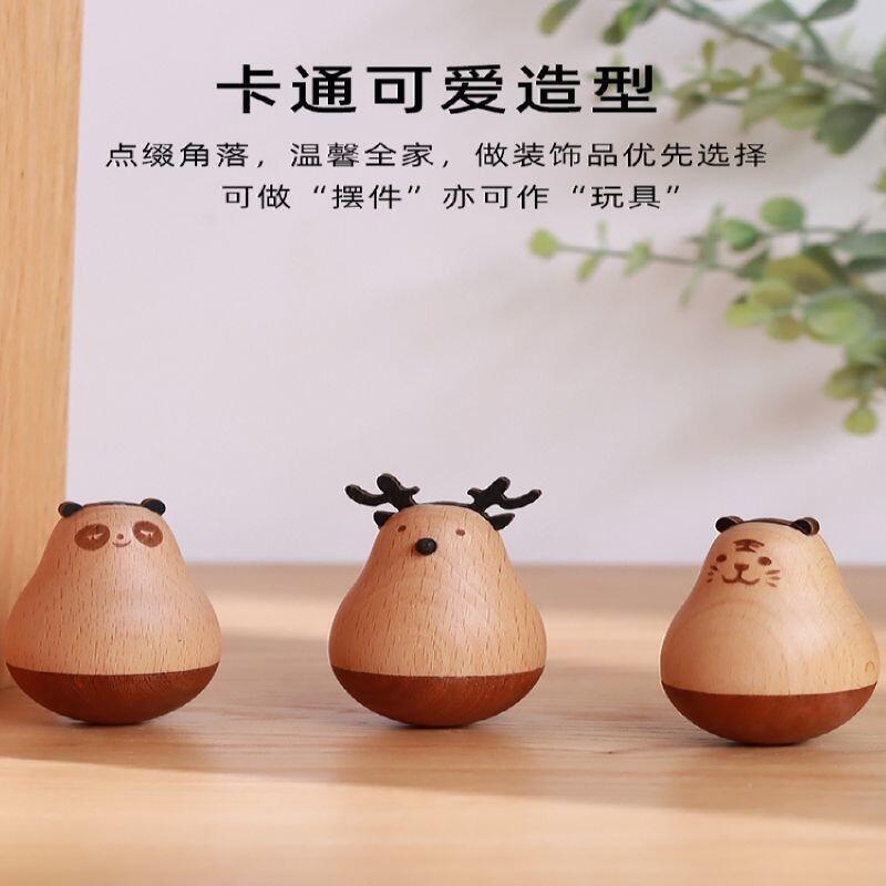 精品【熱賣】悠之居桌面木質不倒翁擺件小創意裝飾品解壓生日禮物手工