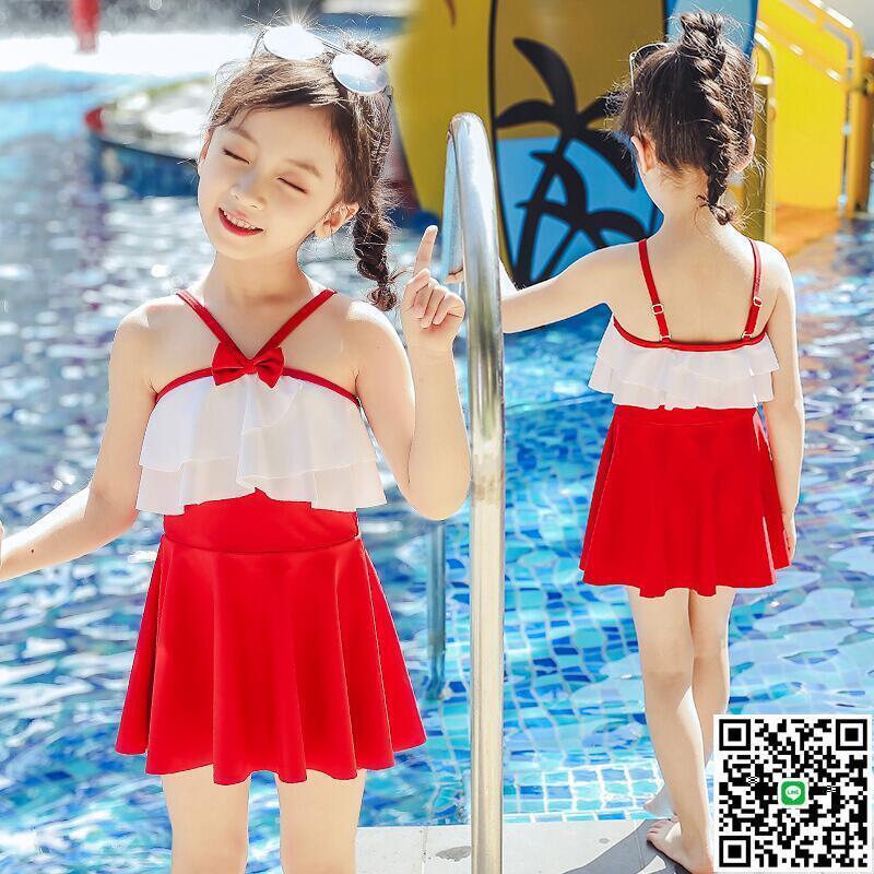 兒童泳衣女套裝女童游泳衣小中大童寶寶連體公主裙式泳裝z39237【大麥百貨】