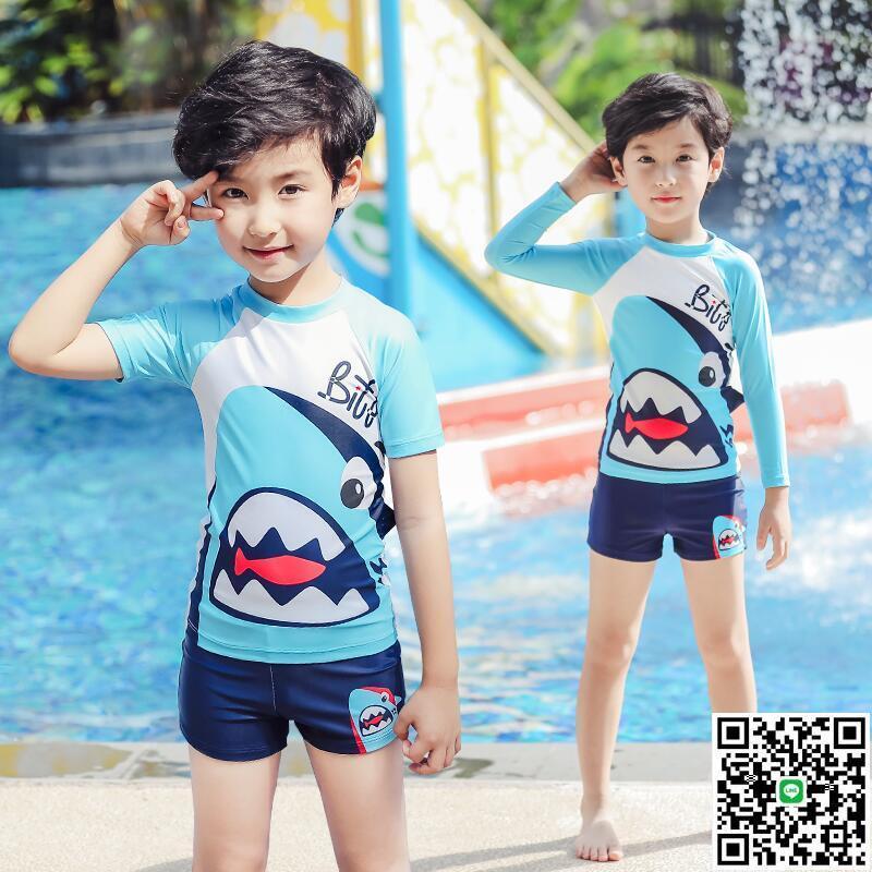 兒童連體泳衣寶寶中大童小男孩嬰幼兒學生長短袖兩件套鯊魚游泳裝【大麥百貨】