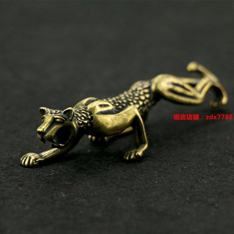 純銅獵豹擺件袖珍金錢豹黃銅豹子筆擱茶寵手把件風水金屬工藝禮品【4.22】