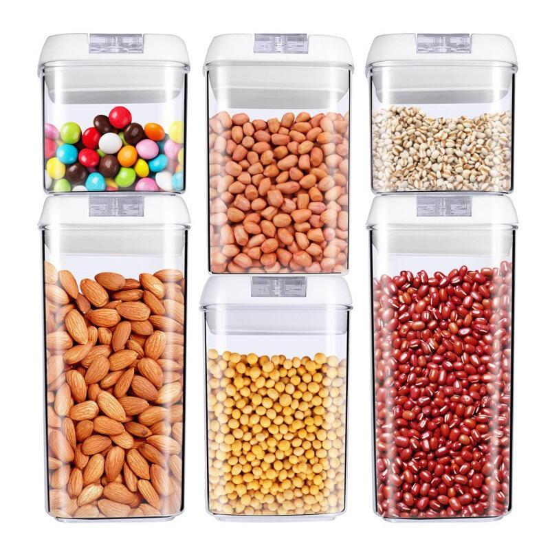 廠家生產塑料儲物罐透明密封六件套易扣罐多容量多用途塑料保鮮盒