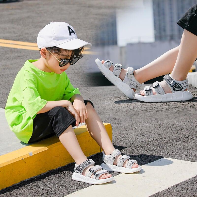 兒童涼鞋寶寶真皮男童沙灘鞋小童 夏季運動新款中大童軟底防滑暖貓先生店