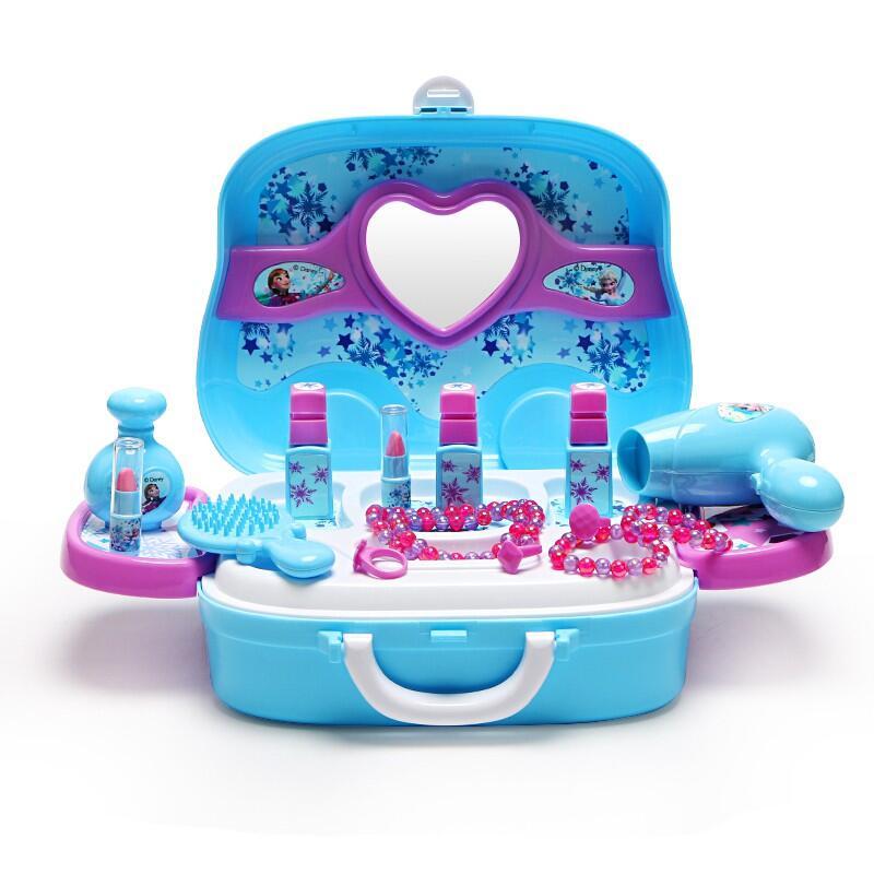 【現貨~熱銷】✿限時下殺✿ 迪士尼兒童過家家玩具  女孩化妝品套裝  梳妝臺盒冰雪奇緣2愛莎公主