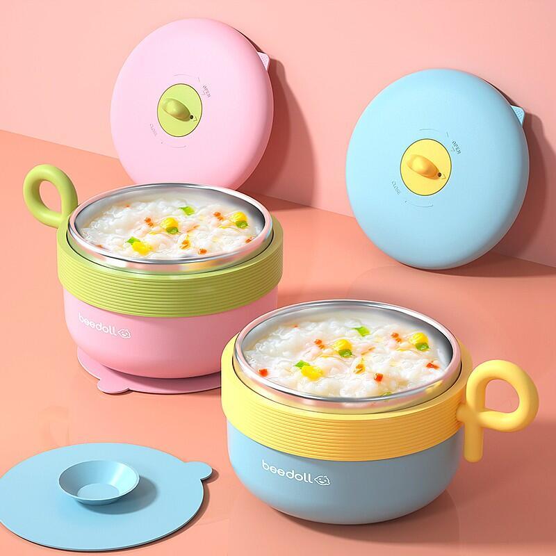 【現貨~熱銷】寶寶注水保溫碗  兒童餐具 嬰兒專用碗  吃飯輔食碗  嬰幼兒不銹鋼吸盤碗