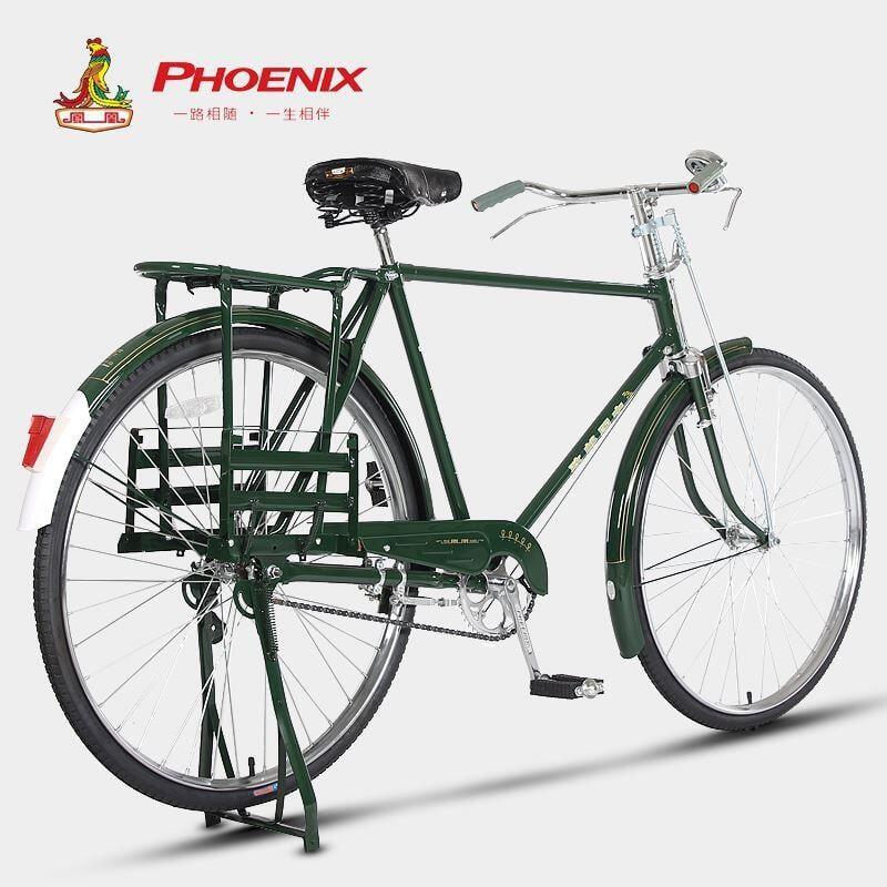 Phoenix/鳳凰28寸郵政郵電綠老式老款傳統平把復古重磅載重自行車