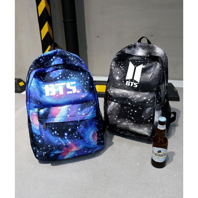 【618精選】七七家  防彈少年團雙肩包 津布 書包背包旅行包 四款 藍色 粉色 黑色 學生包 情侶包