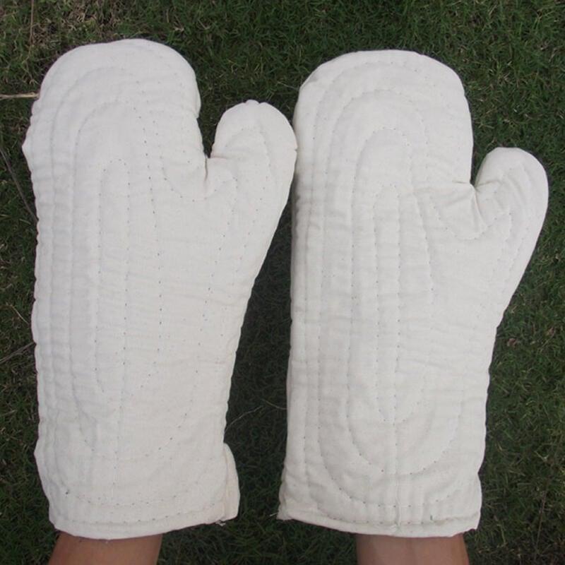安全防護★隔熱手套耐高溫手套加厚烘烤白色廚房通用烤箱微波爐防燙帆布手套現貨