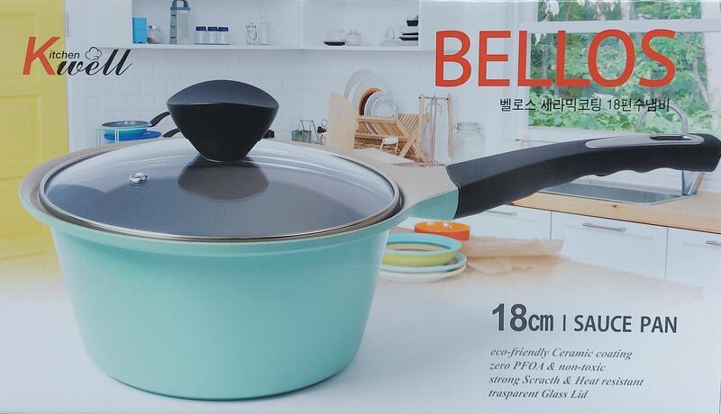 韓國 KitchenWell Bellos 陶瓷單柄湯鍋 附蓋(18cm)