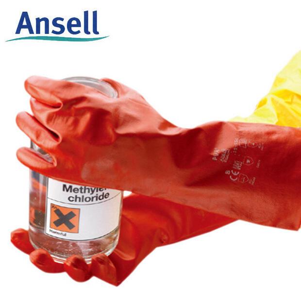 Ansell安思爾15-554 紅色PVA防化手套 實驗耐溶劑 襯里勞保手套