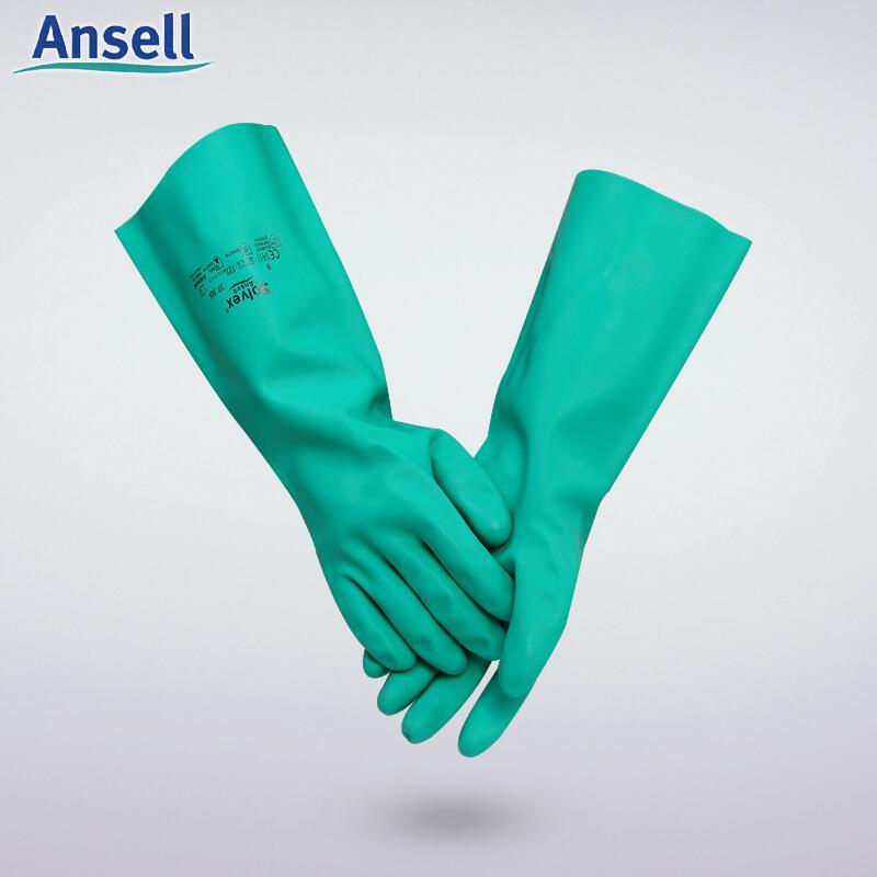 安思爾Ansell37-165勞保工業耐酸堿丁腈橡膠手套加長加厚防化手套