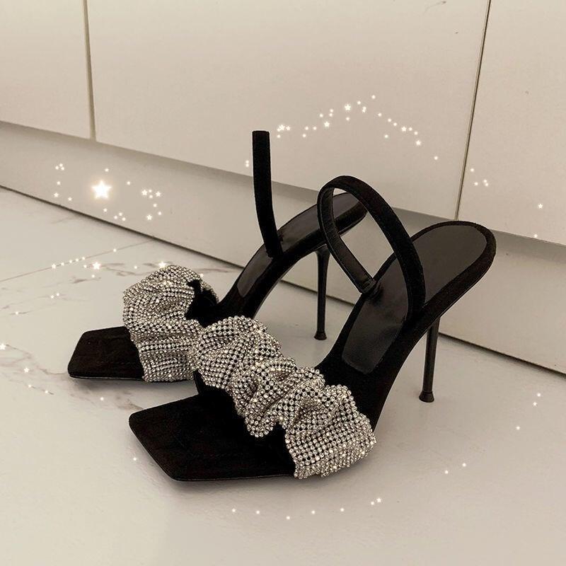 推薦—網紅同款仙女風高跟鞋女2021年春夏新款一字帶水鉆方頭露趾涼鞋女