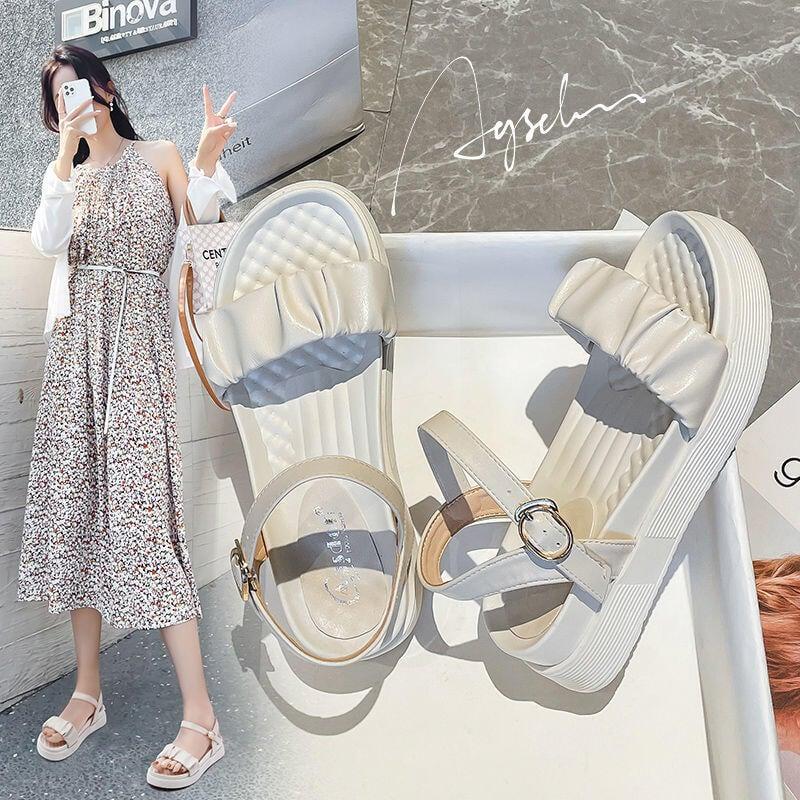 推薦—奧古獅登涼鞋女2021夏天新款外出百搭時尚仙女風魔術貼輕便沙灘鞋