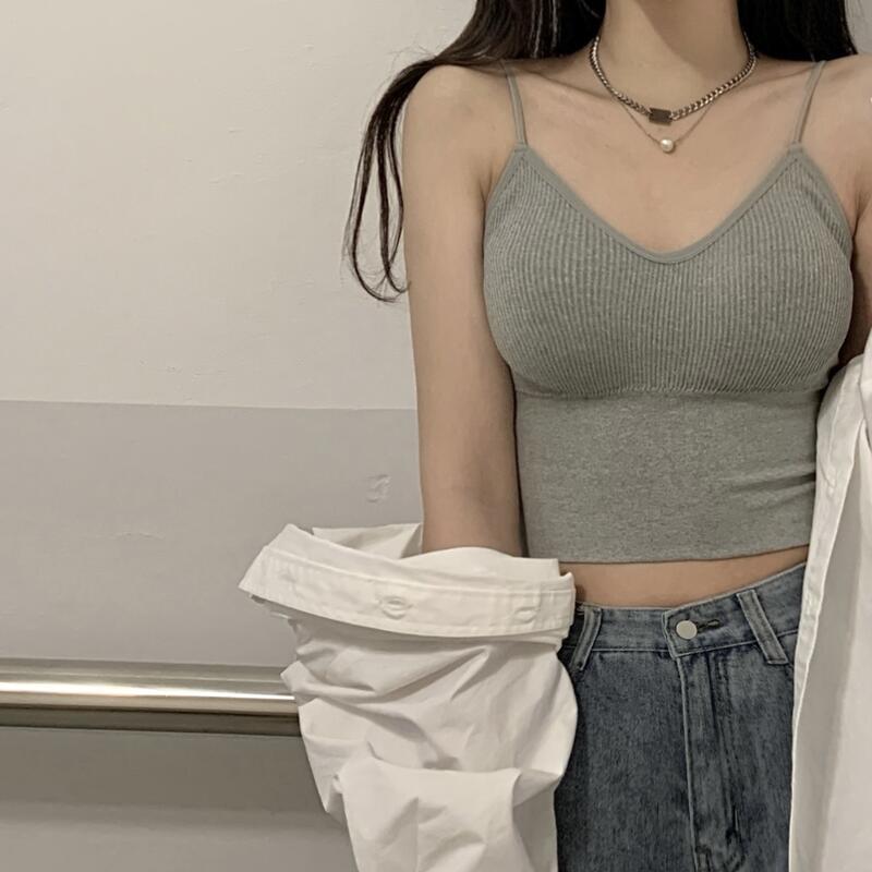 女神必備&吊帶背心女夏季外穿帶胸墊性感美背內衣修身內搭短款運動打底上衣