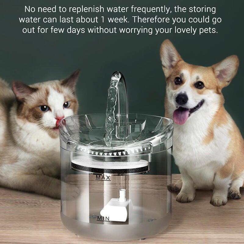 向日葵優品貓咪飲水機自動循環流動水碗透明不插電寵物用品過濾狗狗喝水神器2239