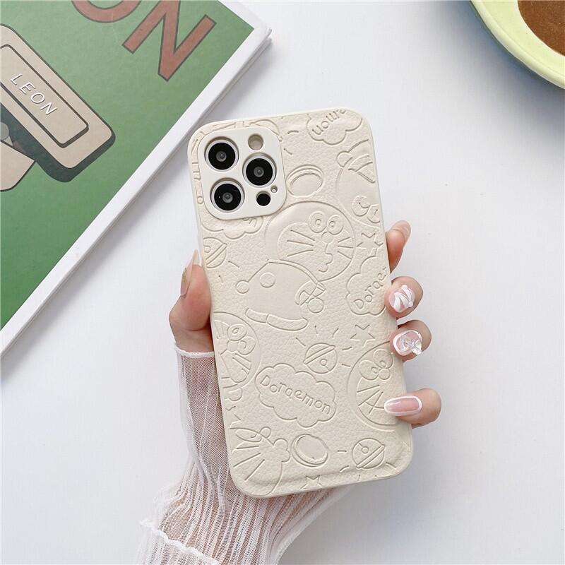 3D壓印叮當貓適用蘋果12手機殼可愛12pro/12promax動漫卡通11promax皮質iphone11全包鏡頭防指