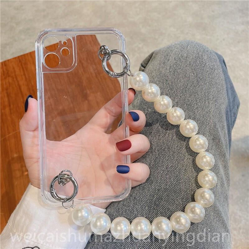 【熱賣】✵❦❅ins珍珠大鏈子透明華為P40/p30pro手機殼nova8pro全包華為nova5/7/6/4se硅膠m