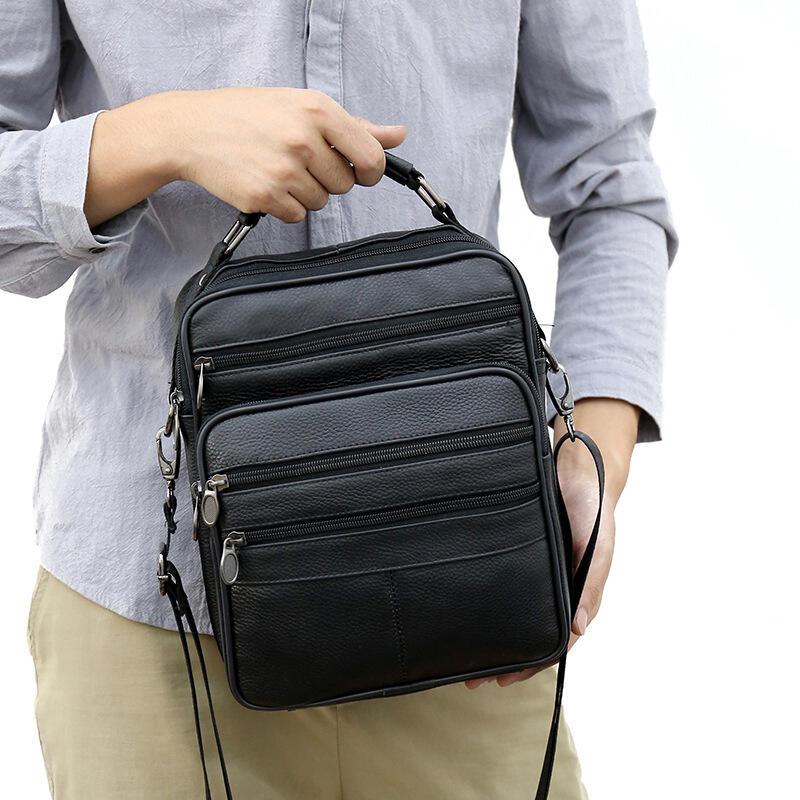 跨境專供男包真皮單肩包時尚百搭純色大容量斜跨包男士休閑手提包