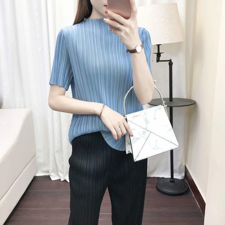 褶皺上衣女2021新款簡約短袖顯瘦百搭設計感溫柔風t恤20210523