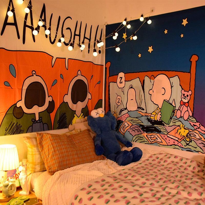 【推薦】◆☚網紅史努比掛布背景布臥室床頭ins風裝飾兒童房間布置墻布卡通大熱銷