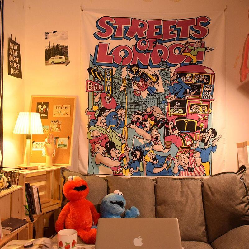 【推薦】◆☚可愛卡通背景布床頭掛布ins風裝飾網紅墻布宿舍上下鋪裝飾布床頭熱銷