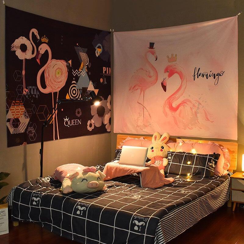 【推薦】◆☚火烈鳥系列 背景布ins掛布裝飾網紅少女風房間拍照宿舍床頭 墻布熱銷
