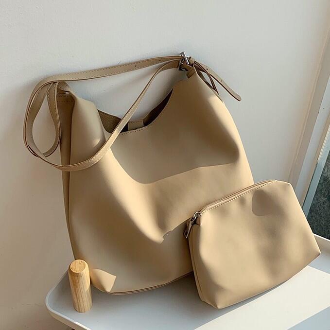 超軟質感~~ 大容量 斜背包 子母包 時尚 氣質 女生包包 韓妞必備 包包 高級感 OL通勤 女包 水桶包