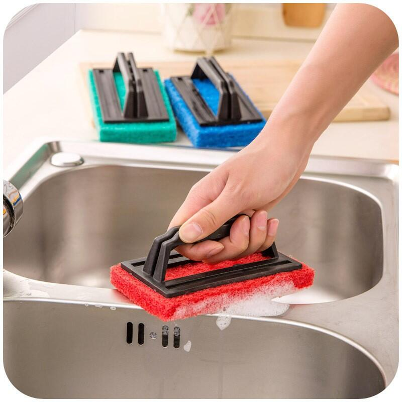 【石屋家居】廚房強力去汙清潔刷 帶手柄海綿底清潔刷 浴室浴缸刷 海綿擦 瓷磚擦 多用清潔刷 地面刷 清潔家務