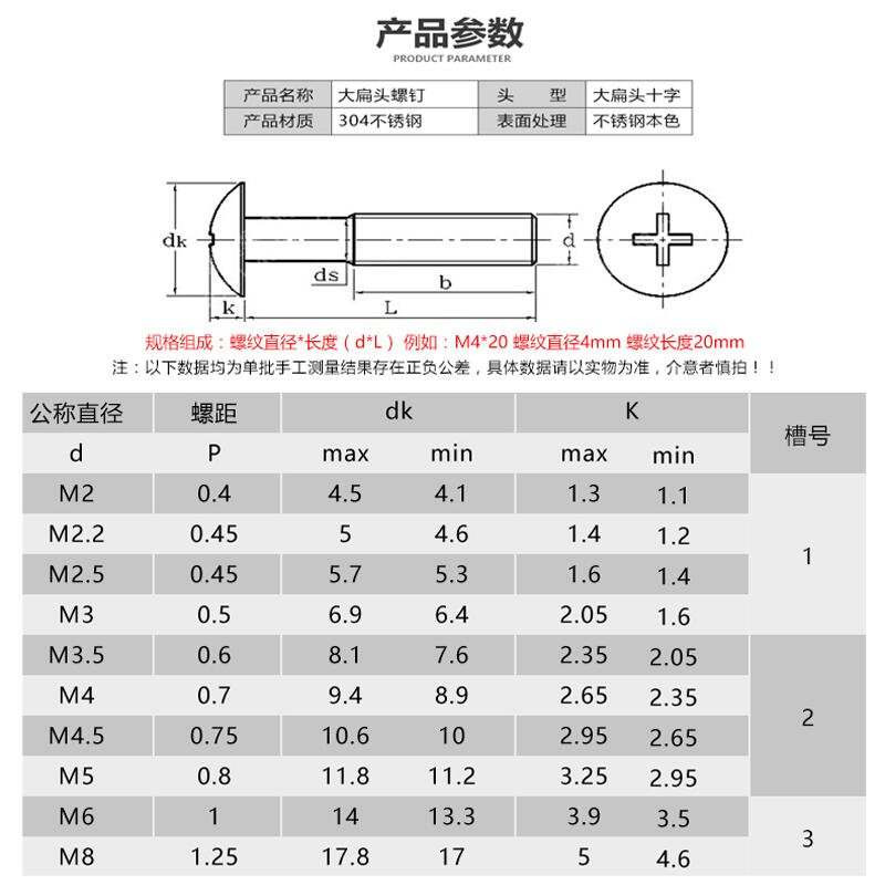 優質 M5mm 304不銹鋼大扁頭機螺釘蘑菇頭十字螺絲傘頭*6/8/10-100