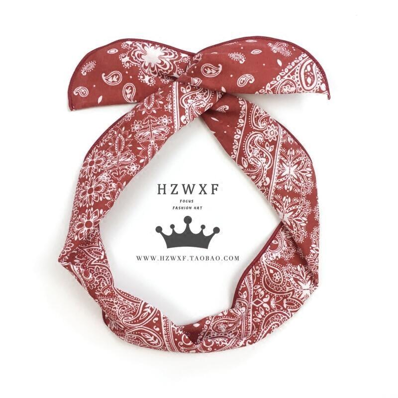 🌸🌸韓國東大門時尚復古腰果花印花兔耳朵鐵絲發帶頭帶氣質發箍頭飾潮
