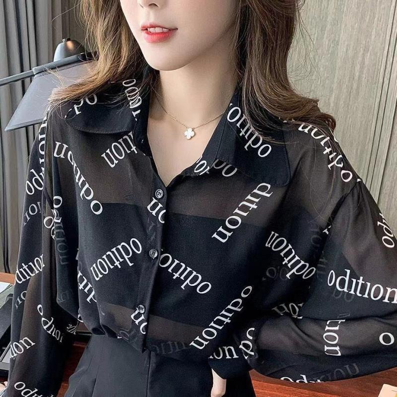 女生襯衫 防曬衫 大碼女裝 2021年新款春夏襯衫女胖mm設計感小眾翻領字母印花上衣潮