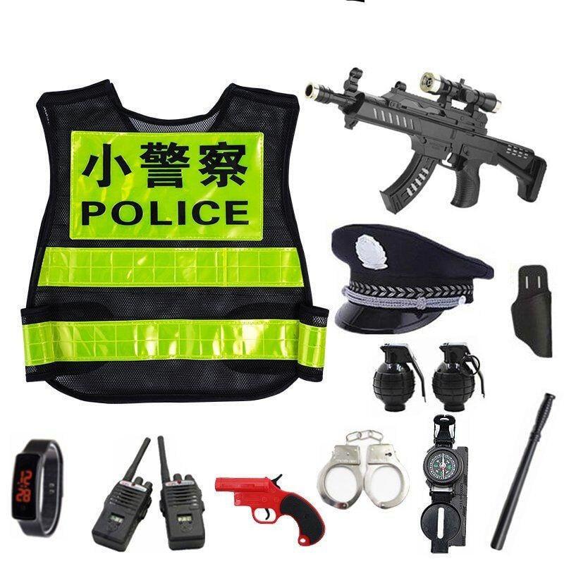 【玩具槍】兒童小警察玩具套裝大蓋帽小警察帽子吃雞過家家玩具帽玩具槍男孩