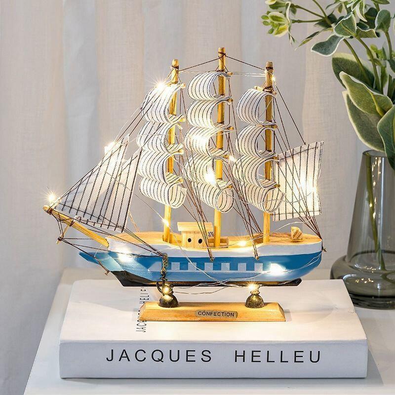 【畢業禮物】一帆風順帆船模型擺件客廳房間酒柜裝飾品生日禮物女木質工藝船男