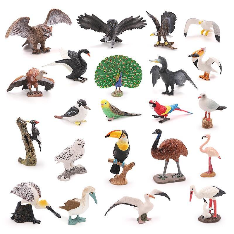【現貨】實心仿真野生動物世界鳥類玩具 飛禽動物模型擺件套裝 老鷹 鸚鵡 貓頭鷹 孔雀 天鵝 鸚鵡 兒童早教認知禮物