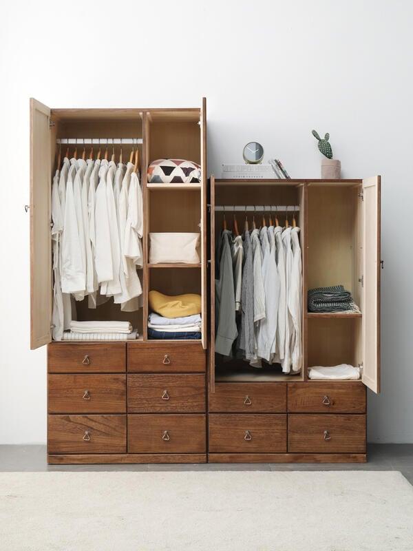 實木衣柜客廳儲物柜中式收納柜兒童小戶型家用臥室棉被柜子新品F091621