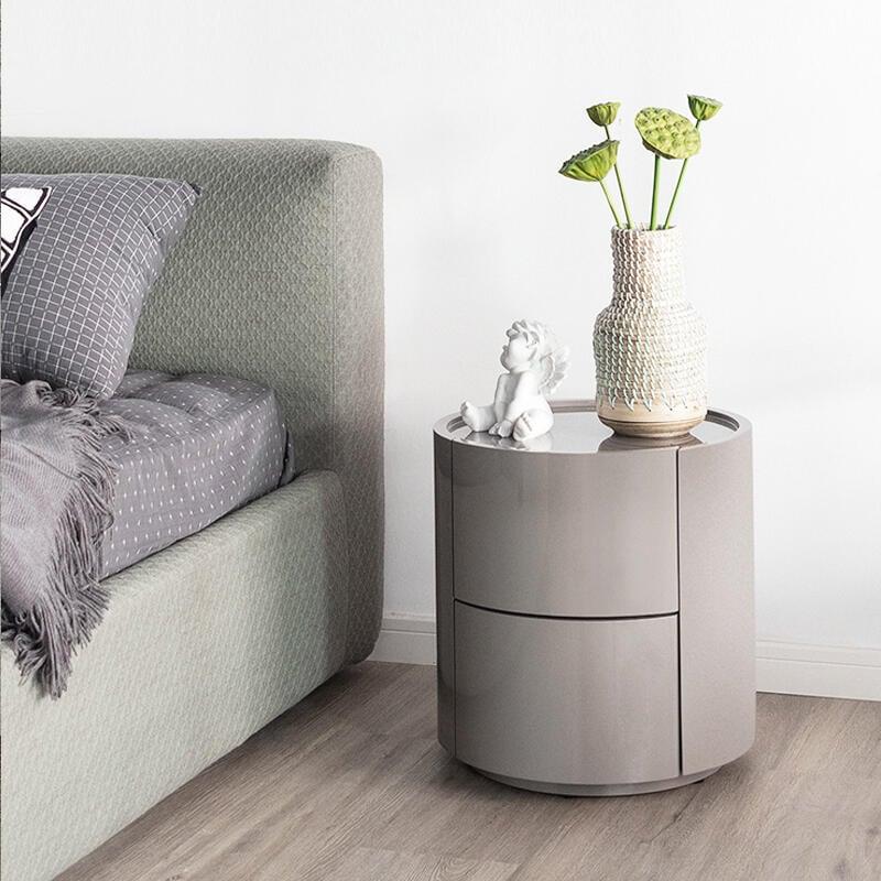 艾千簡約現代圓形床頭柜臥室烤漆ins小邊幾北歐輕奢儲物柜床邊柜F091621