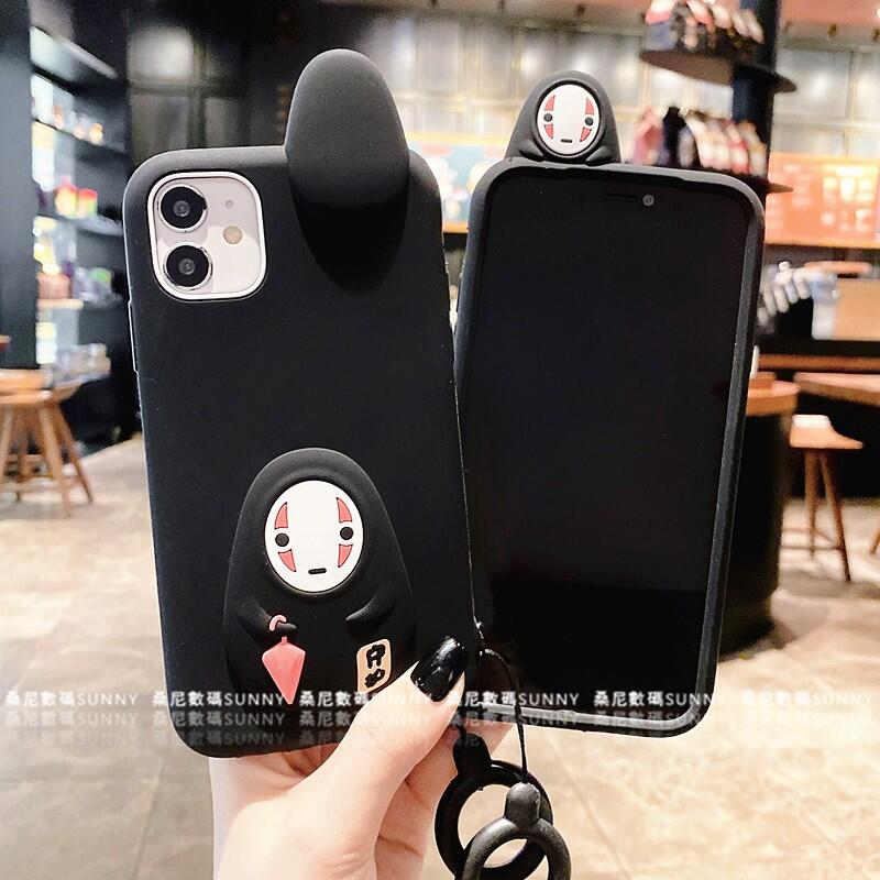 IPhone 11 Pro 宮崎駿 無臉男 矽膠手機殼 XR XMAX I8 7plus 神隱少女 指環 掛繩 卡通殼