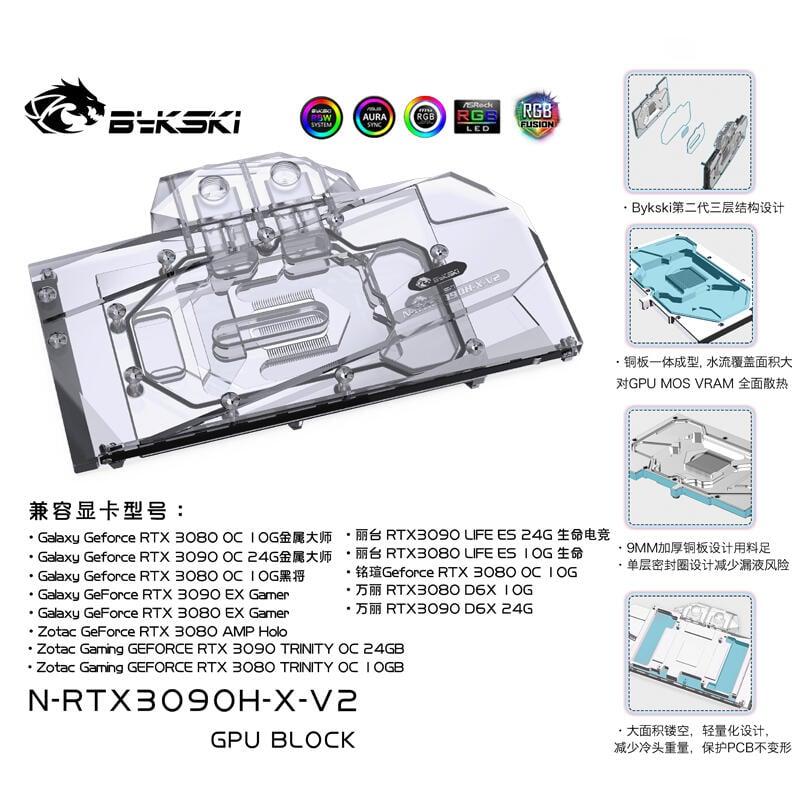 免運嚴選 Bykski N-RTX3090H-X-V2 NVIDIA公版RTX3090/3080 顯卡冷頭散熱器