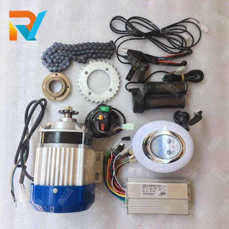 人力三輪車改裝電動車無刷電機套件36V48V500W750控制器電動轉把