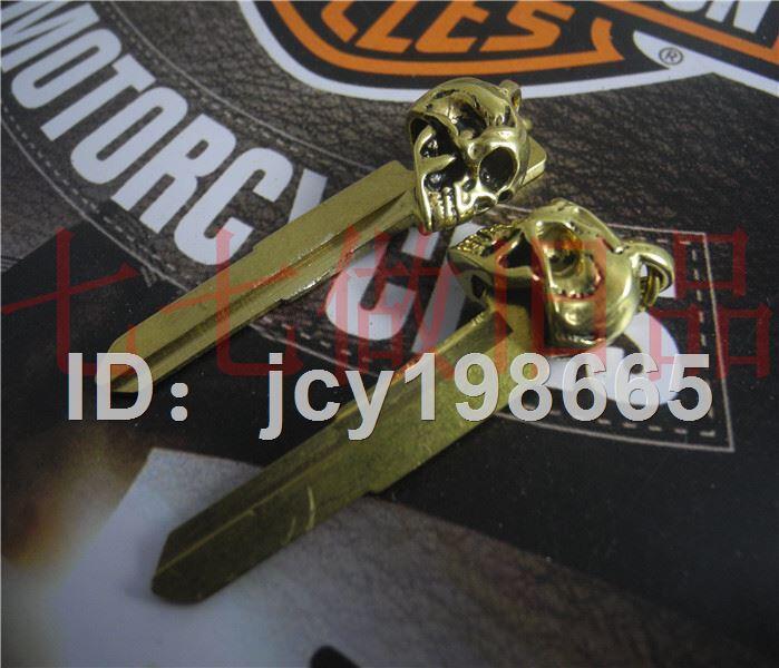 機車配件 純銅骷髏頭鑰匙扣手工摩托車挂件機車鑰匙改裝頭個性鑰匙胚